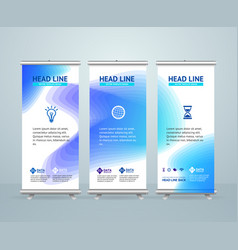 Roll up banner stand design template vector