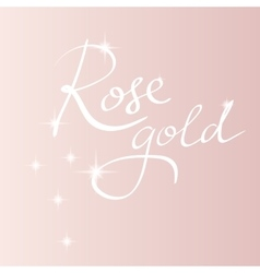 Rose gold backround lettering vector