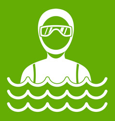 Scuba diver man in diving suit icon green vector