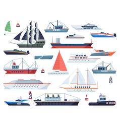 sea ships fishing boat and big vessel vector image