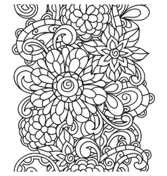 Seamless nature pattern with line flowers for vector image