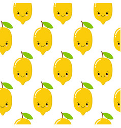 Seamless pattern with cute lemons on the white vector