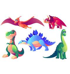 Set cartoon dinosaurs prehistoric animals vector