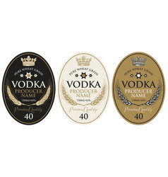 set labels for vodka with wheat ears and crown vector image