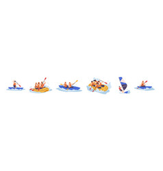 set people enjoy active water sports vector image