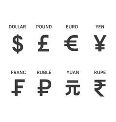 set popular currency symbol vector image