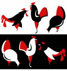 Silhouette of chickens vector