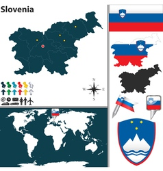 Slovenia map world vector image