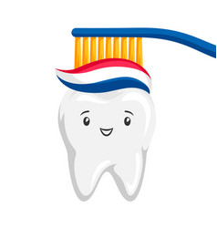 Smiling tooth brushing paste vector