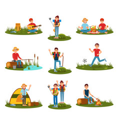 Summer outdoor activities kid playing football vector