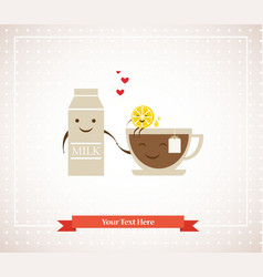 Tea cup milk and lemon hipster best friends vector