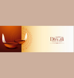 Traditional happy diwali festival banner with two vector