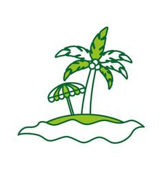 tree palm with umbrella summer icon vector image vector image
