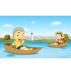 Two boys rowing boat in the lake vector image