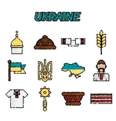 Ukraine flat icons set vector image
