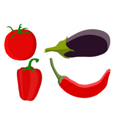 Vegetables - tomato pepper eggplant hand drawn vector