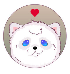 white bear head icon kawaii vector image