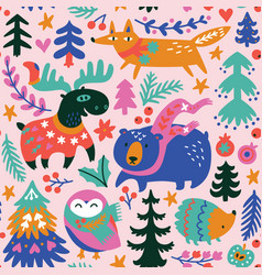winter animals seamless pattern in cartoon vector image