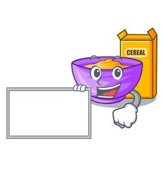 With board cereal box in a cartoon bowl vector