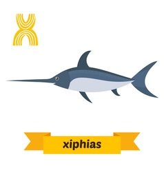 Xiphias X letter Cute children animal alphabet in vector