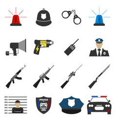 16 flat police icon protect and serve label vector image