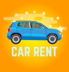 Car rent blue suv on yellow vector