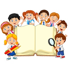 Cartoon school children with book isolated vector image vector image