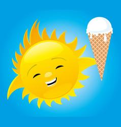 Cheerful sun with ice cream vector