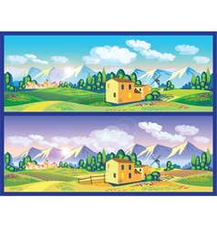 countryside in the spring and summer vector image