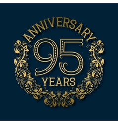 Golden emblem of ninety fifth years anniversary vector image