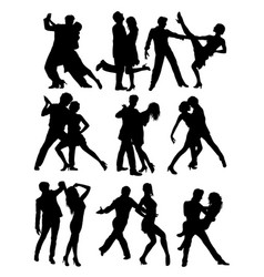 salsa and tango activity silhouettes vector image vector image