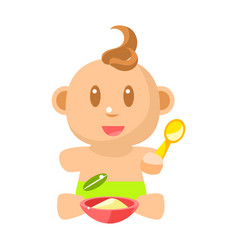 small happy baby boy in green nappy eating vector image vector image