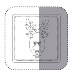 sticker of silhouette frame of christmas reindeer vector image