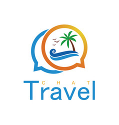 beach travel chat logo vector image vector image