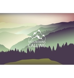 Green sundown in the mountain - background vector