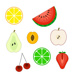 set of flat cuted fruit icons vector image