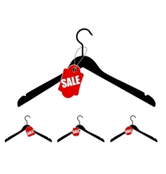 Set of hangers with sale tag vector image