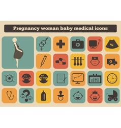 set of medical woman pregnancy baby icons vector image