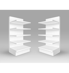 Set of White Exhibition Trade Stands with Shelves vector image