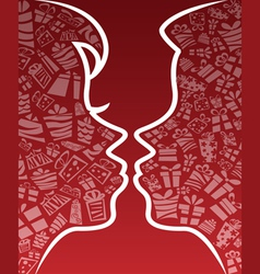 Valentine kissing couple silhouette vector image vector image
