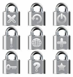 computer desktop lock icons vector image