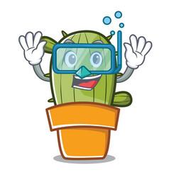diving cute cactus character cartoon vector image vector image