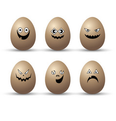 egg easter character cartoon emotion face set vector image vector image