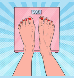 Pop art female feet on weighing scales vector
