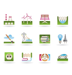 Power plants and electricity grids vector image