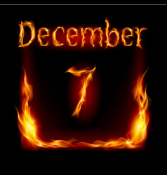 Seventh december in calendar of fire icon on vector