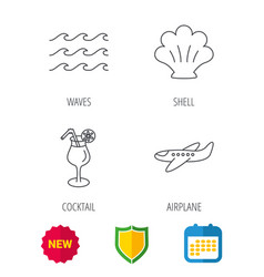 shell waves and cocktail icons vector image vector image