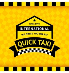 Taxi symbol with checkered background - 12 vector image vector image