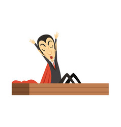 count dracula vampire waking up in the coffin vector image