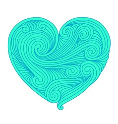 Decorative teal heart vector image